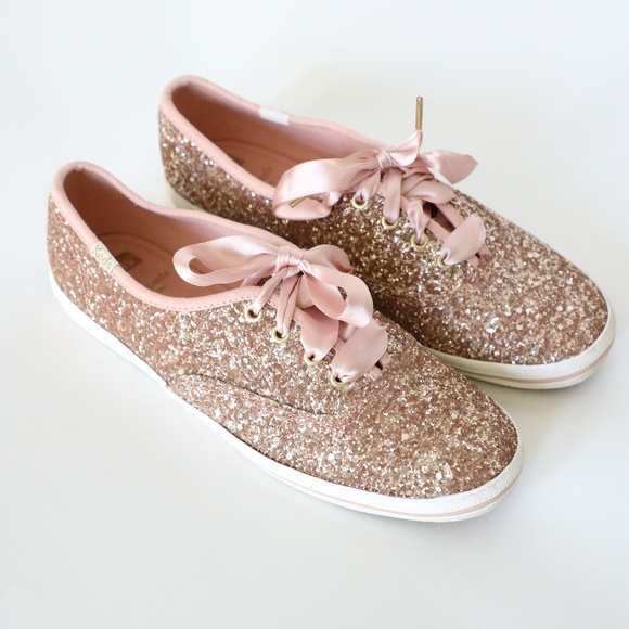 e2e9fd47f24 Keds Shoes - Keds Kate Spade Rose Gold Glitter Sneakers 7